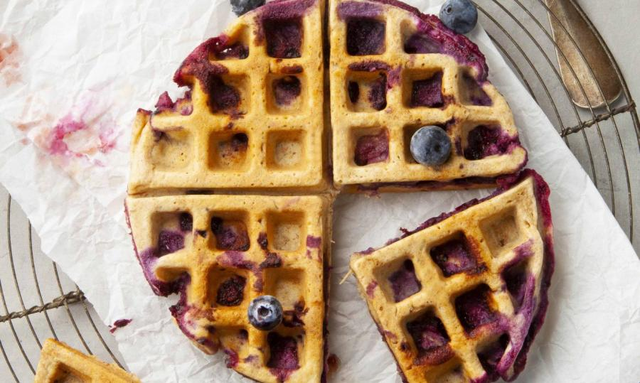 Yoghurt waffle with blueberries and vanilla