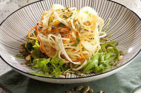 Tepid salad of parsnip and turnip cabbage