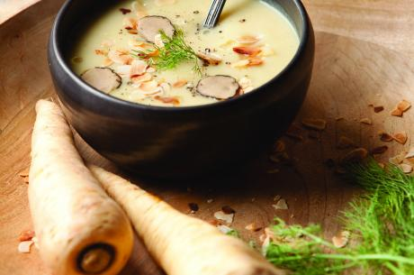 Parsnip, ginger and truffle soup